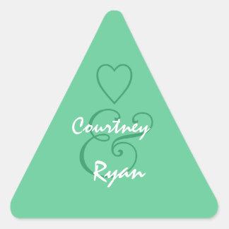 Teal Green Envelope Seal Wedding Triangle Sticker