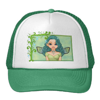 Teal & Green Faery Pixel Art Cap