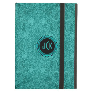 Teal Green Faux Suede Leather Floral Design Case For iPad Air
