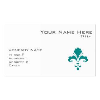 Teal Green Fleur de lis Business Cards