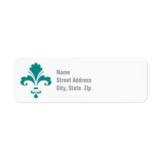 Teal Green Fleur de lis Return Address Label