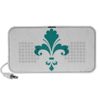 Teal Green Fleur de lis iPod Speaker