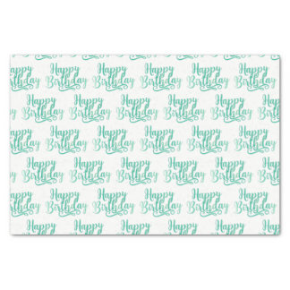 Teal Green Fun HAPPY BIRTHDAY Custom Party Tissue Paper