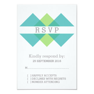 Teal Green Geometric Triad RSVP Card