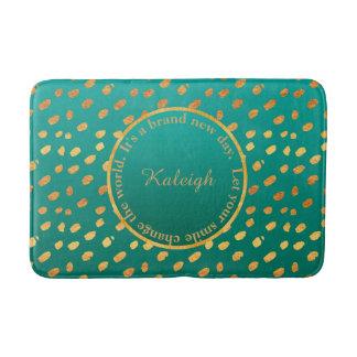 Teal Green & Gold Confetti Inspirational Bath Mat Bath Mats