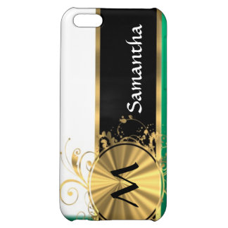 Teal green & gold monogram iPhone 5C cases