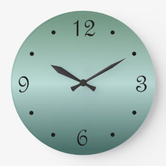 Teal Green Gradient Large Clock
