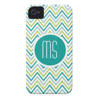 Teal Green Grey Chevron Zigzag Monogram iPhone 4 Case-Mate Cases