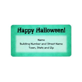 Teal Green Halloween Address Label