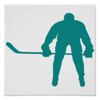 Teal Green Hockey Poster