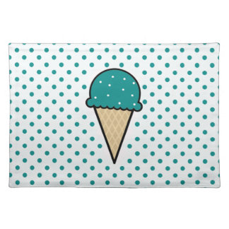 Teal Green Ice Cream Cone Place Mats