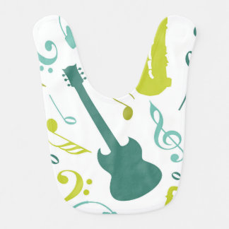 Teal & Green Jazz Music Design Baby Bib