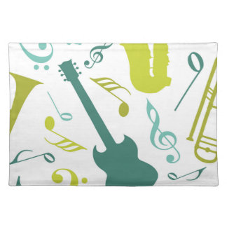 Teal & Green Jazz Music Design Cloth Placemat