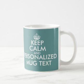 Teal green KeepCalm Mugs   Personalizable template