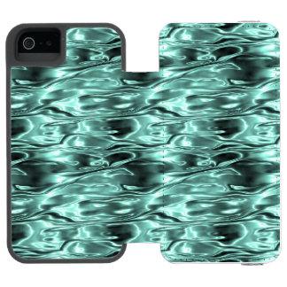 Teal Green Liquid Metal Metallic Fluid Aqua Incipio Watson™ iPhone 5 Wallet Case