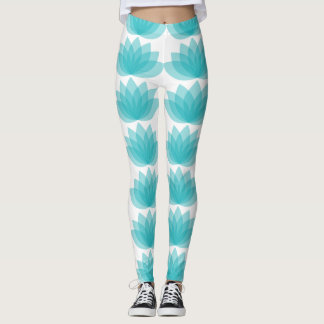 Teal Green Lotus Leggings