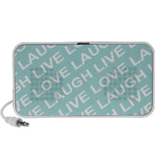 Teal Green Love Text Pattern Speakers