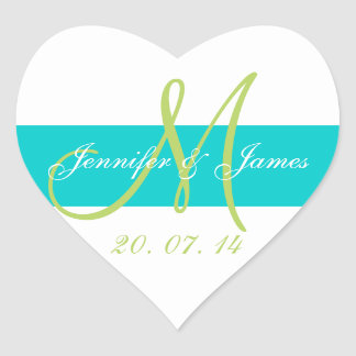 Teal, Green Monogrammed Wedding Heart Sticker