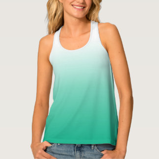 Teal Green Ombre Gradient Color Tank Top