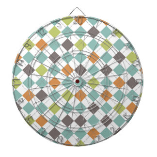 Teal Green Orange Taupe Classic Argyle Pattern Dartboard