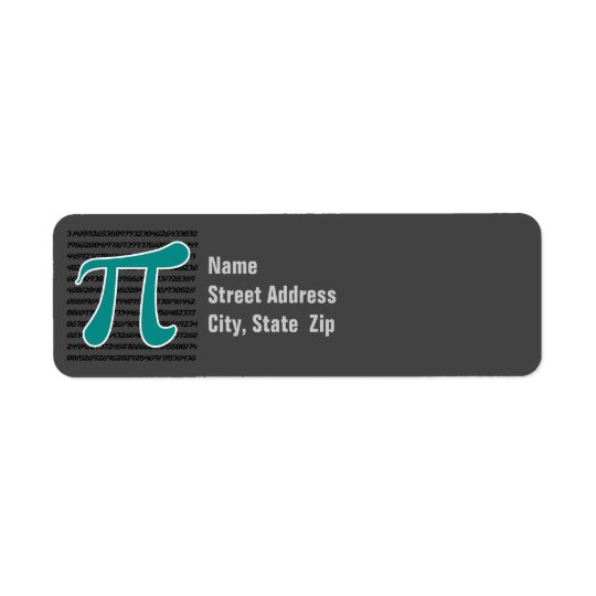 Teal Green Pi symbol Return Address Label
