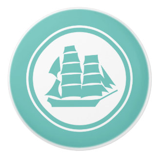 Teal Green Pirate Ship Brig Nautical ceramic knob