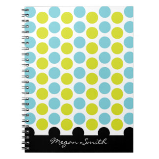 Teal & green polka dots with black stripe notebook