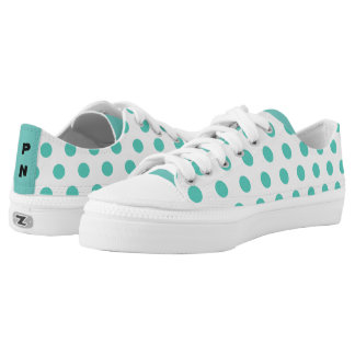 Teal / Green polkadots with your initials Printed Shoes