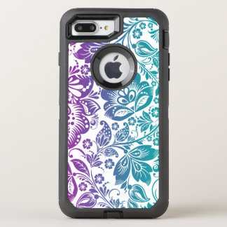 Teal Green & Purple Floral Damasks Pattern OtterBox Defender iPhone 8 Plus/7 Plus Case