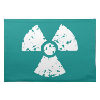 Teal Green Radioactive symbol Place Mats