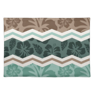 Teal Green, Robins Egg Blue, & Brown Tropical Placemats