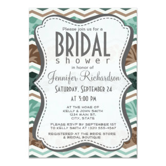 Teal Green, Robins Egg Blue, & Brown Tropical Personalized Invitation
