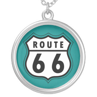 Teal Green Route 66 sign Pendants