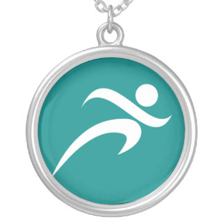 Teal Green Running Personalized Necklace