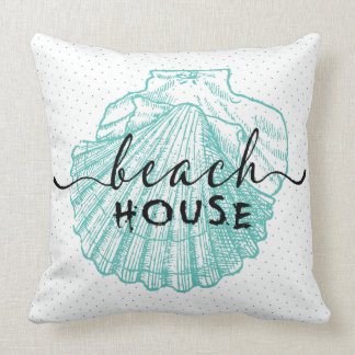 teal-green Seashell Beach House Typography Design Cushion