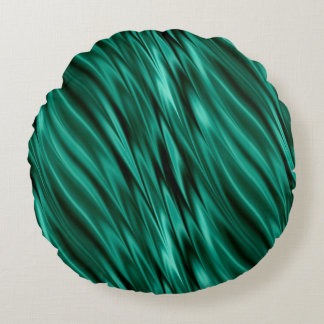 Teal green silky waves round cushion