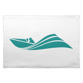 Teal Green Speed Boat Place Mat