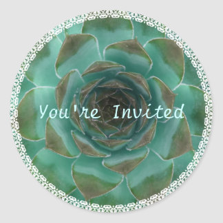 Teal Green Succulent Round Envelope Seals