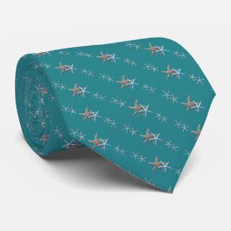 Teal Green Tiny Starfish Diagonal Print Tie