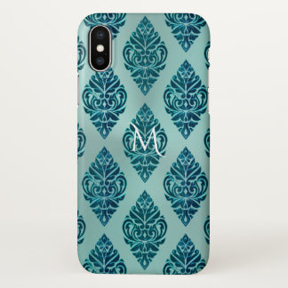 Teal Green Tribal Damask Monogram iPhone X Case