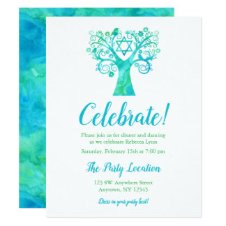 Teal Green Watercolor Tree of Life Reception Card