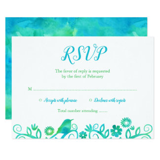 Teal Green Watercolor Tree of Life RSVP Card