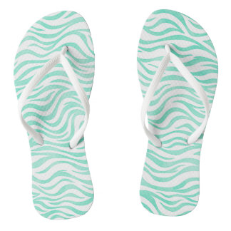 Teal Green Watercolor Zebra Print Thongs