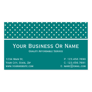 Teal Green & White Polka Dots. Name Or Business Pack Of Standard Business Cards