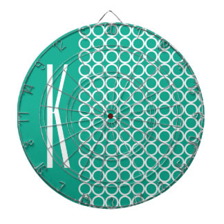 Teal Green & White Retro Circles Dart Boards