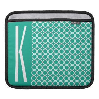 Teal Green & White Retro Circles iPad Sleeves