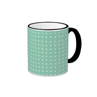 Teal green with small cream polka dots ringer mug