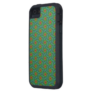 Teal green yellow and red fractal trippy design case for iPhone 5