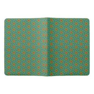 Teal green yellow and red fractal trippy design extra large moleskine notebook