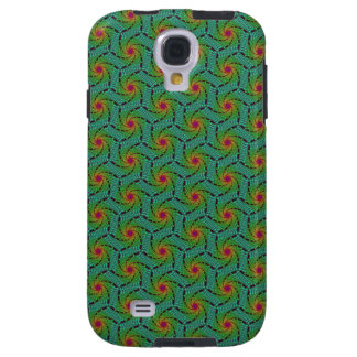 Teal green yellow and red fractal trippy design galaxy s4 case